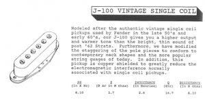Jackson J-100 single coil pickup description